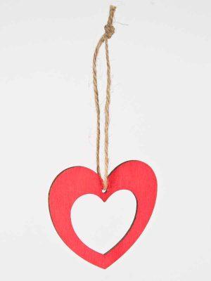 houten hartje, rood, met touwtje
