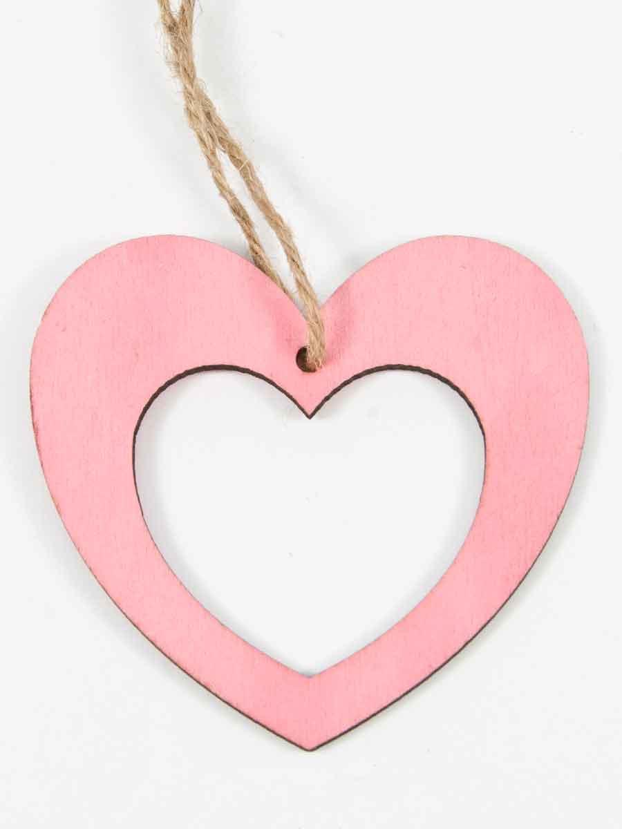 houten open hartje roze