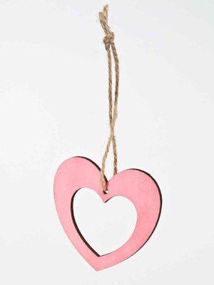 roze hartje met touw