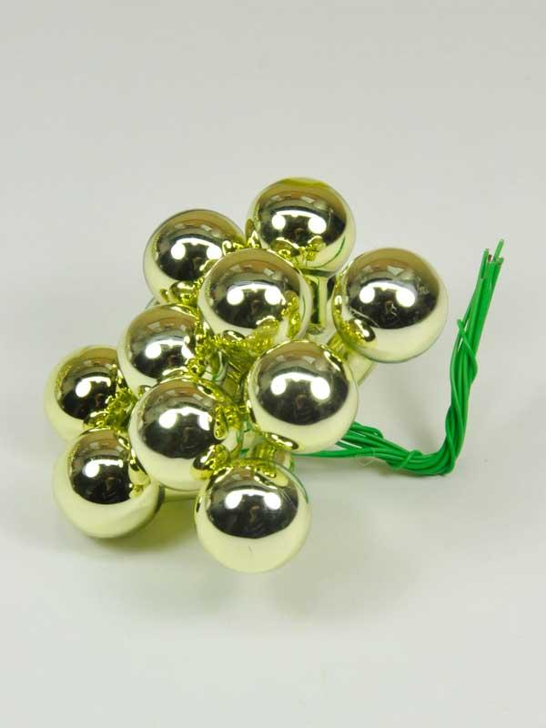 Kerstballetjes op draad - groen glans - 12 stuks-0