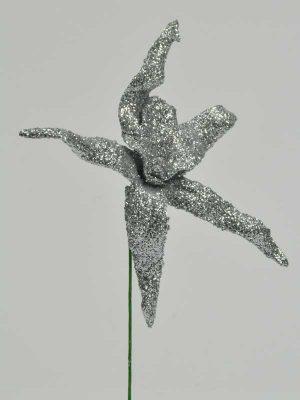 decoratieartikelen namaak orchidee zilveren glitters