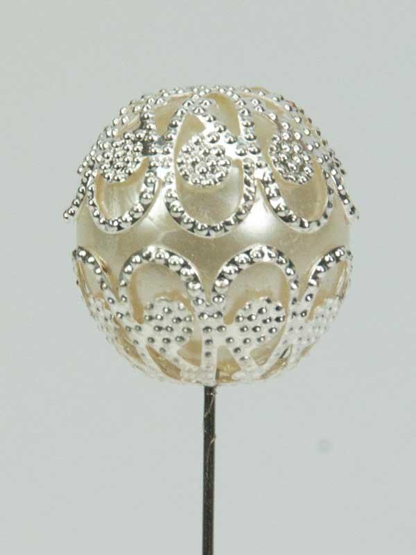 decoratiespeld bol ivoor met zilver
