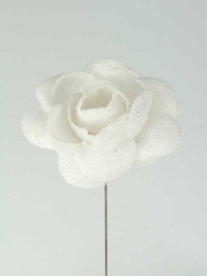 decoratieartikelen roos wit met glitter
