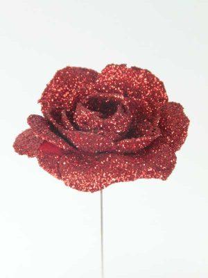 decoratieartikelen roos rood met glitter