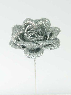 decoratieartikelen roos zilver met glitter
