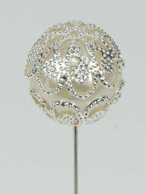 Decoratiespeld bol ivoor met zilver - 19 mm - 3 st.-1695