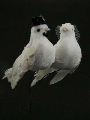 Duivenbruidspaar op draad - wit