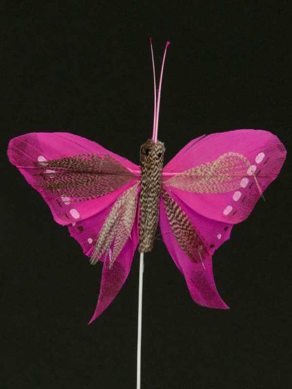 Vlinder op draad - 8 cm - donkerroze zwarte achtergrond