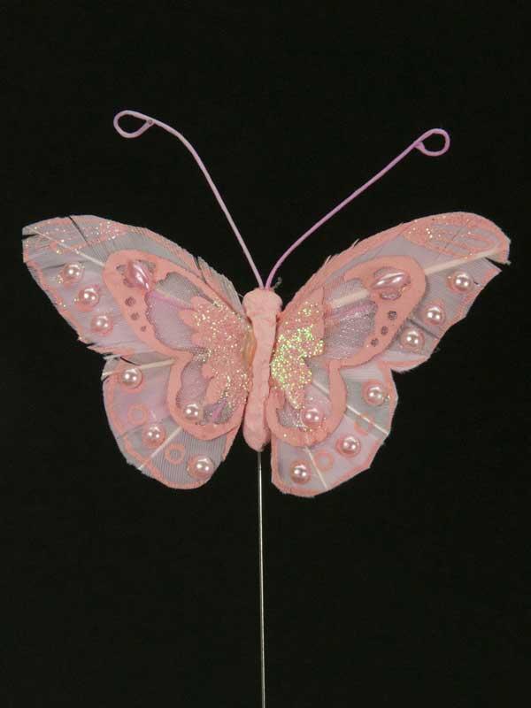 Vlinder op draad - 8 cm - roze -zwarte achtergrond
