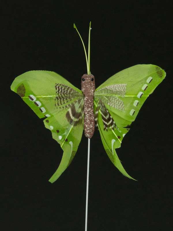 Vlinder op draad - 8 cm - groen zwarte achtergrond