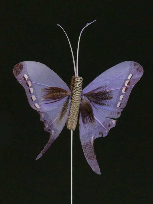 Vlinder op draad - 8 cm - lila zwarte achtergrond