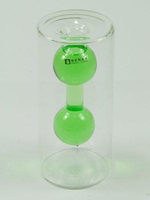 double vase leeg, met gekleurd water