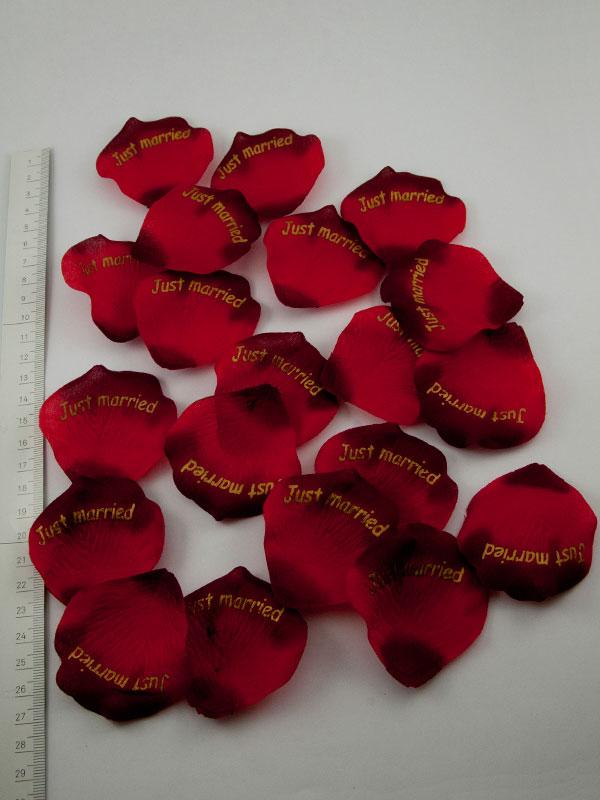 rozenblaadjes rood Just Married