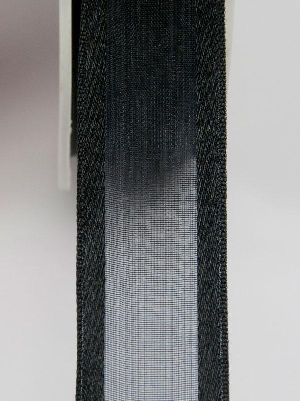 Zwart organza lint 23 mm met satijn rand