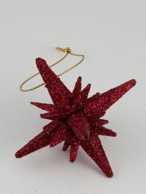 Kerstster glitter - donkerrood