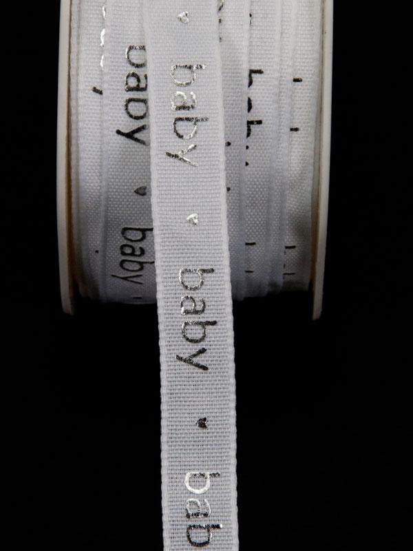 lint wit met zilveren letters baby - 12 mm breed - geboorte