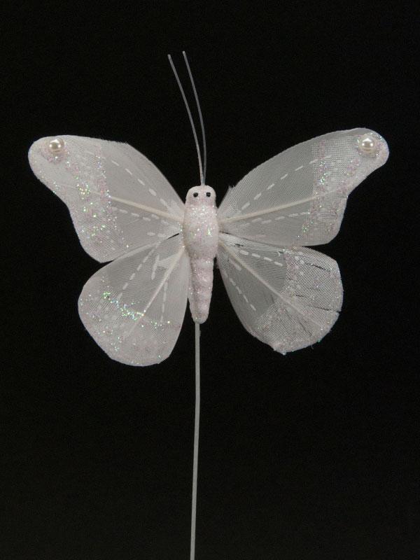 Vlinder op draad, model bruid, kleur wit
