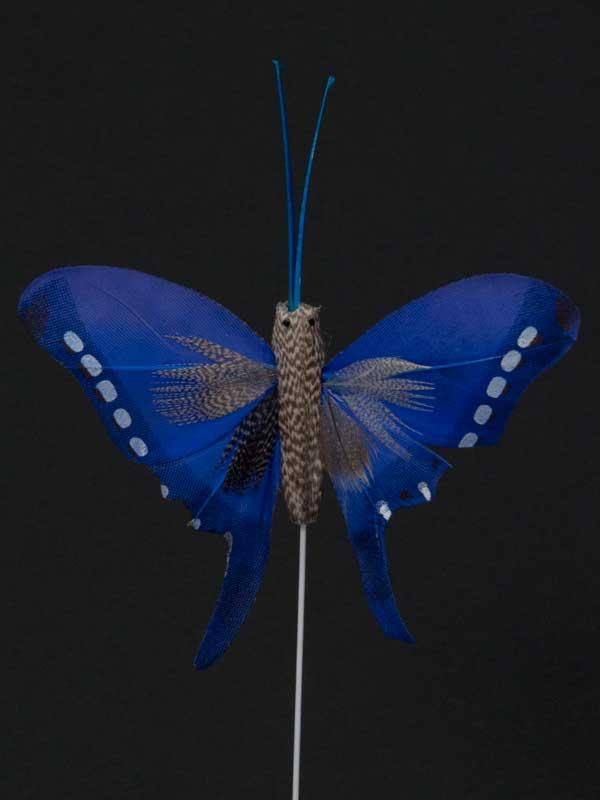 Vlinder op draad - 8 cm - paars zwarte achtergrond