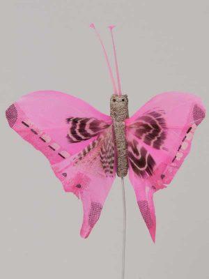 Vlinder op draad - 8 cm - licht-roze witte achtergrond