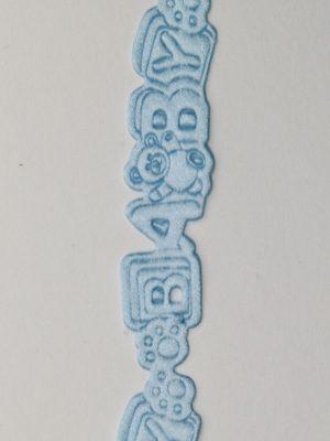 reliëf lint baby met beertjes blauw