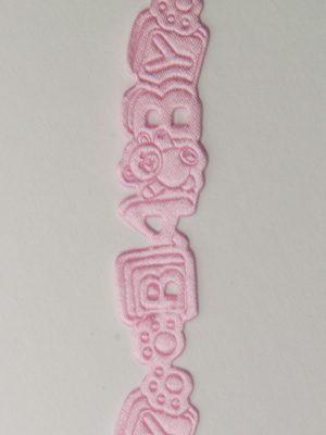Reliëflint met letters Baby kleur roze