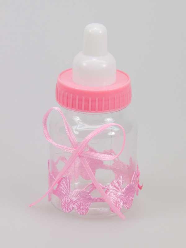 Decoratief zuigflesje (nep!). Ongeveer 9 cm groot, met leuk lint met strik eromheen. Mooi voor een collage met babyspulletjes om een geboorte te vieren.