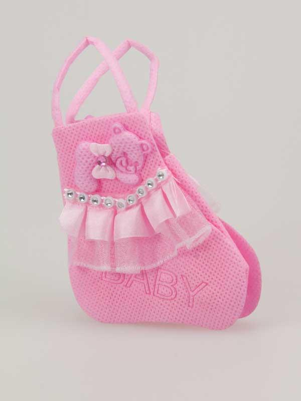 Als u voor een baby wat geld of een klein cadeautje wil geven, dan kan dat leuk in dit schattige baby-tasje.