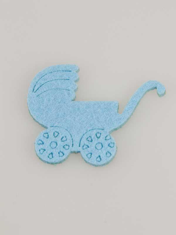 Kinderwagen van vilt, erg leuk als decoratie op een kraamcadeau voor een babyshower.