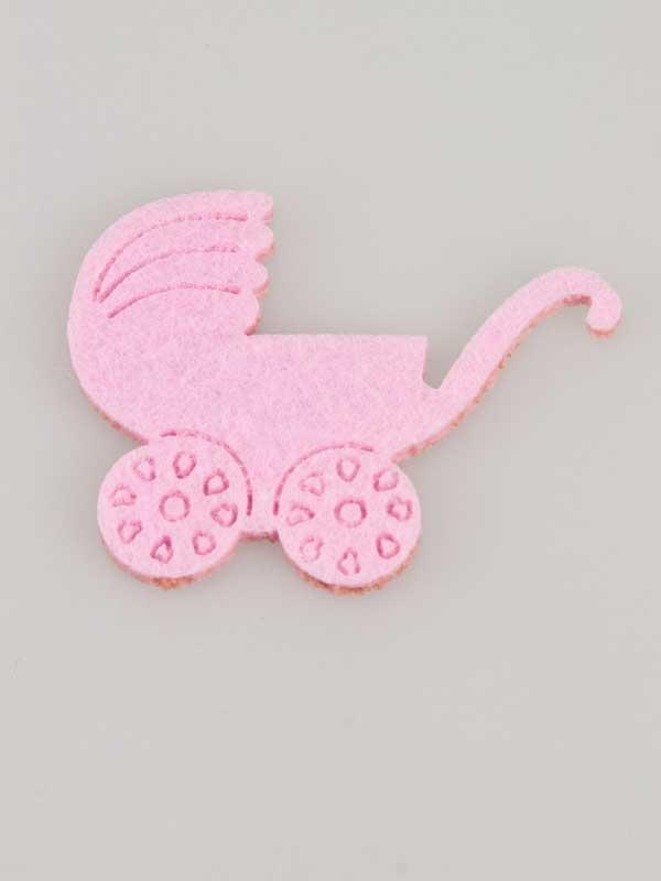 Decoratie voor het zelf maken van een kraamcadeau: kleine kinderwagen van vilt, leuk om op een geboortegeschenk te plakken.