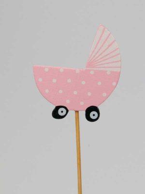 Houten wiegje op stok. Om een geboorte te vieren: Voeg deze bijsteker bij uw kraamgeschenk en maak uw geboortecadeau nog leuker.