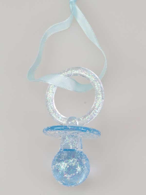 Mooie blauwe decoratie-speen om uw geboortecadeau extra te versieren.