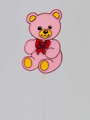 Om uw geboortegeschenk nog leuker te maken: een lief lachend (plastic) beertje op steker.