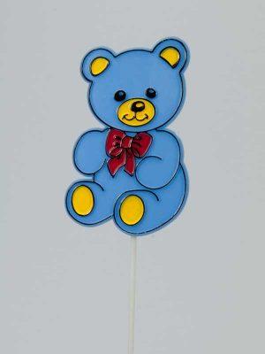 Voeg met dit beertje een lieve glimlach toe aan uw geboortegeschenk. Op plastic steker, ongeveer 8 cm groot.