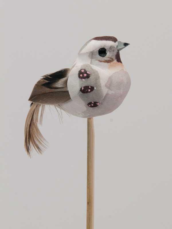 Vogeltje op steker - grijs-bruin - per stuk
