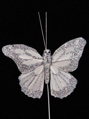 Vlinder voor decoratie, wit met glitter zilver