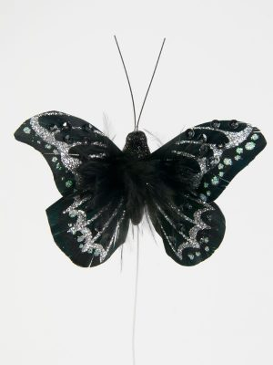 vlinder zwart versierd met veertjes