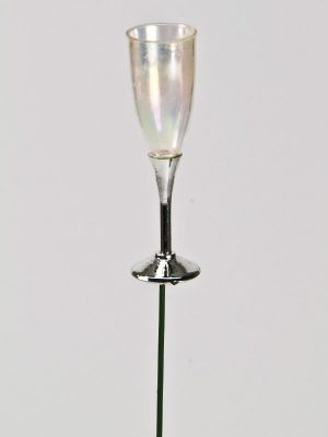miniatuur champagneglas op steker voor decoratie
