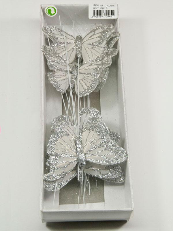doos vlinders wit met zilver glitter
