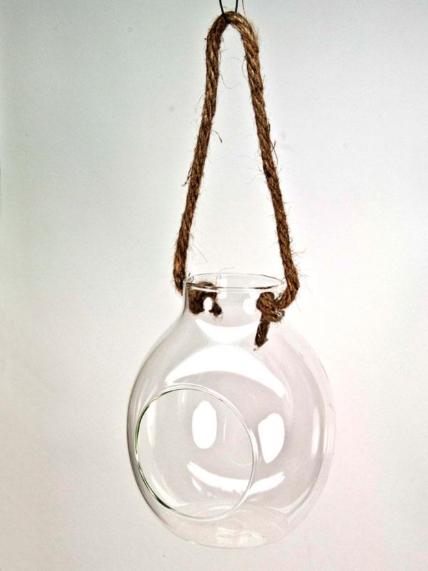 Hangende glazen vaas bol model
