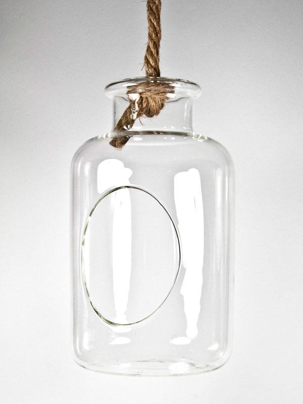 Hangende glazen vaas flesmodel