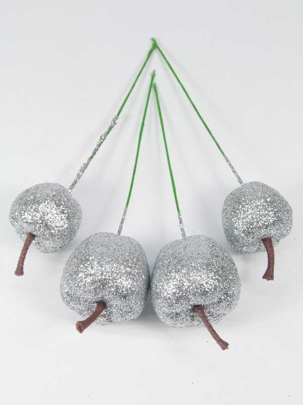 Glitterappel zilver op draad