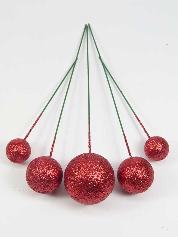 Setje glitter ballen op draad, rood