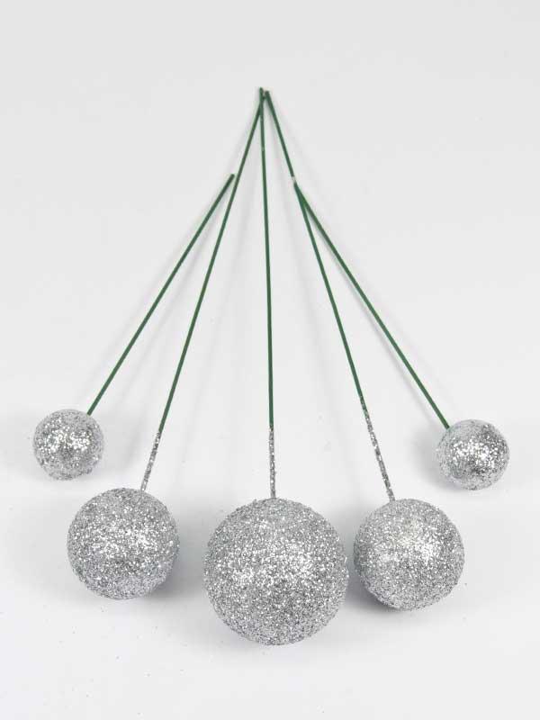 Setje zilveren glitterballen op draad