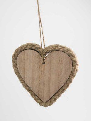 houten hart met touw