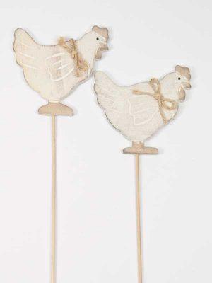 kippen (hout) op een stok