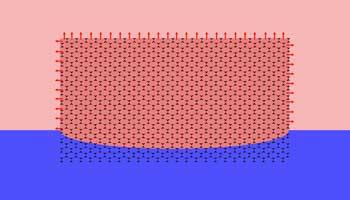 tekening van steekschuim blok in water