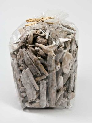 drijfhout stukjes white washed in zak