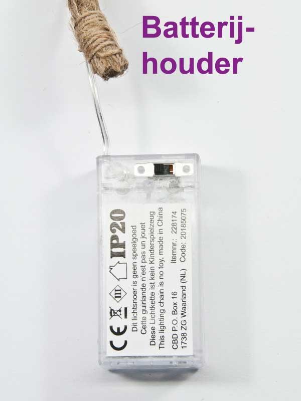 barterijhouder jute touw LED lichten