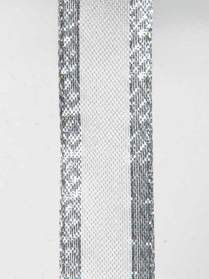 zilver lint open geweven met dichte sierrand