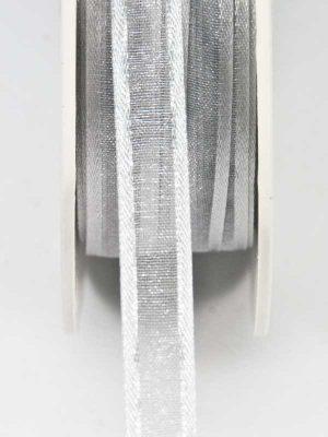 lint zilver organza met satijnen rand 10 mm
